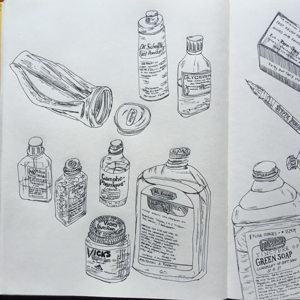 Old Medicine Museum Collage (pt. 1), ink on paper