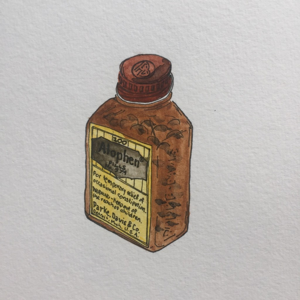 Parke Davis Alophen Tablets,  ink and watercolor on paper, 8 x 5 in.