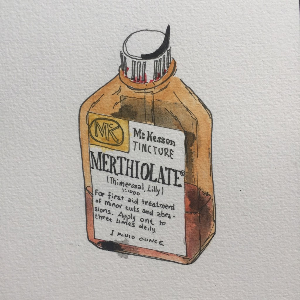 McKesson Merthiolate,  ink and watercolor on paper, 8 x 5 in.