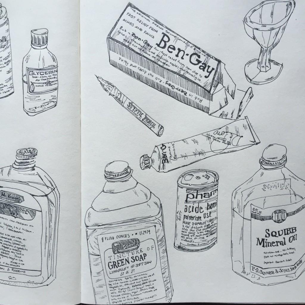 Old Medicine Museum Collage (pt. 2), ink on paper
