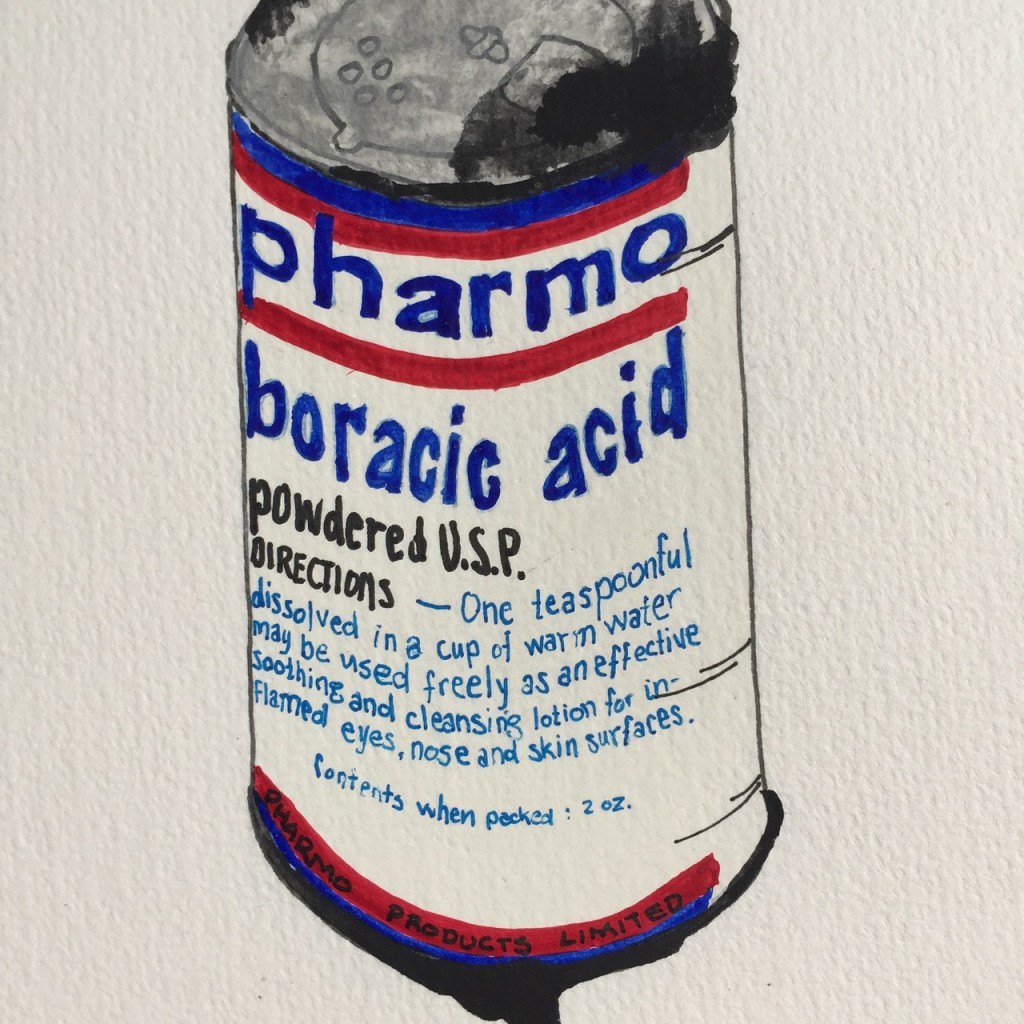 Pharmo Boracic Acid,  ink and watercolor on paper, 8 x 5 in.