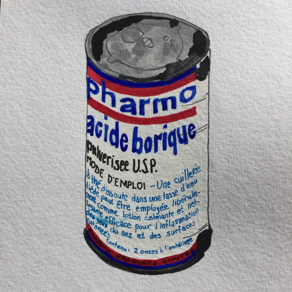 Pharmo Acide Borique,  ink and watercolor on paper, 8 x 5 in.
