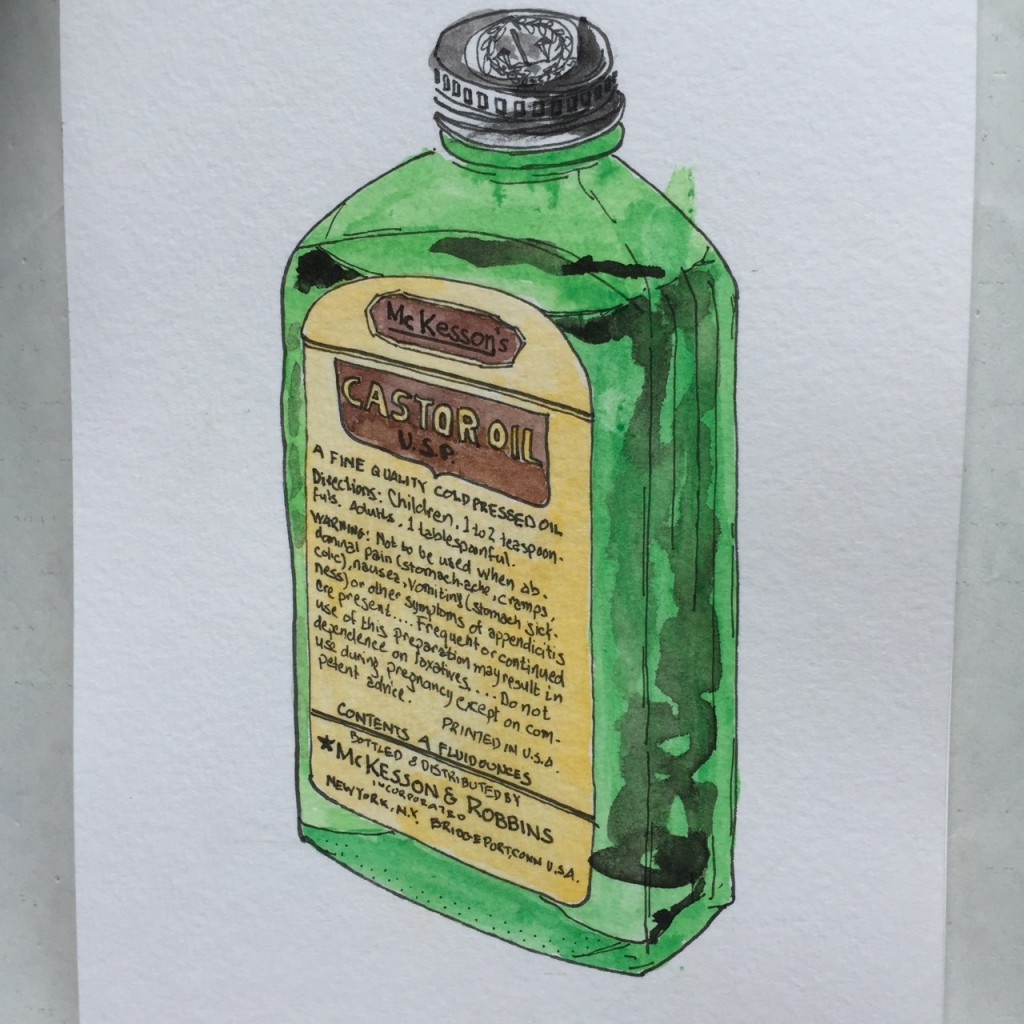 McKesson's Castor Oil,  ink and watercolor on paper, 8 x 5 in.