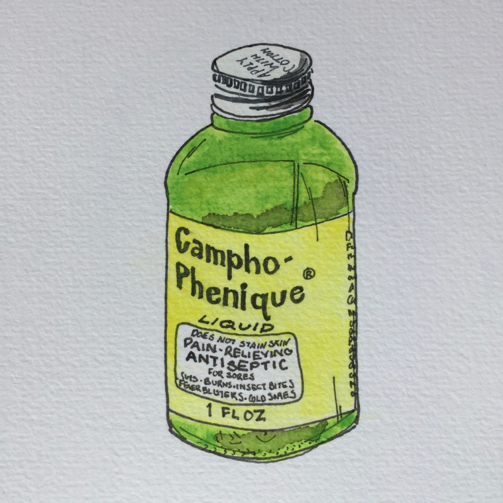 Campho-Phenique,  ink and watercolor on paper, 8 x 5 in.