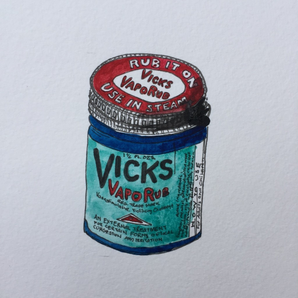 Vicks VapoRub,  ink and watercolor on paper, 8 x 5 in.
