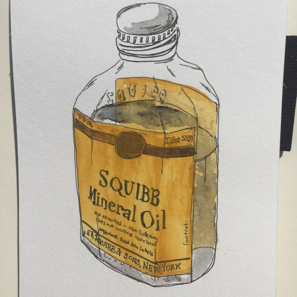 Squibb Mineral Oil, ink and watercolor on paper, 8 x 5 in.