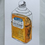 Rexall Tincture of Green Soap,  ink and watercolor on paper, 8 x 5 in.